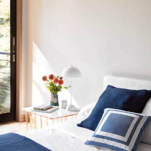 Inspiration for a large modern master light wood floor bedroom remodel in San Francisco with white walls, a two-sided fireplace and a plaster fireplace