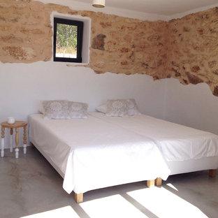 Réalisation d'une chambre d'amis méditerranéenne de taille moyenne avec un mur blanc, béton au sol, un poêle à bois et un sol gris.