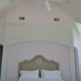 Bedroom - large beach style master ceramic floor bedroom idea in Miami with white walls
