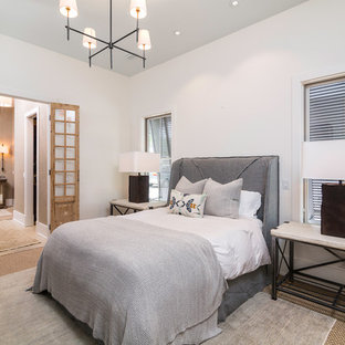 Mid-sized beach style guest carpeted bedroom photo in Atlanta with white walls and no fireplace