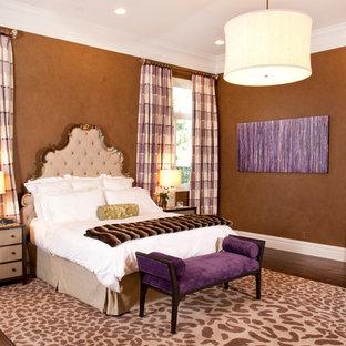 Bedroom - mid-sized contemporary master medium tone wood floor bedroom idea in Las Vegas with brown walls
