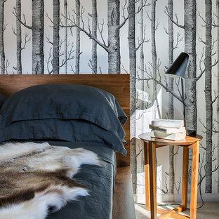 シドニーの中くらいのコンテンポラリースタイルのおしゃれな客用寝室 (マルチカラーの壁、カーペット敷き) のインテリア