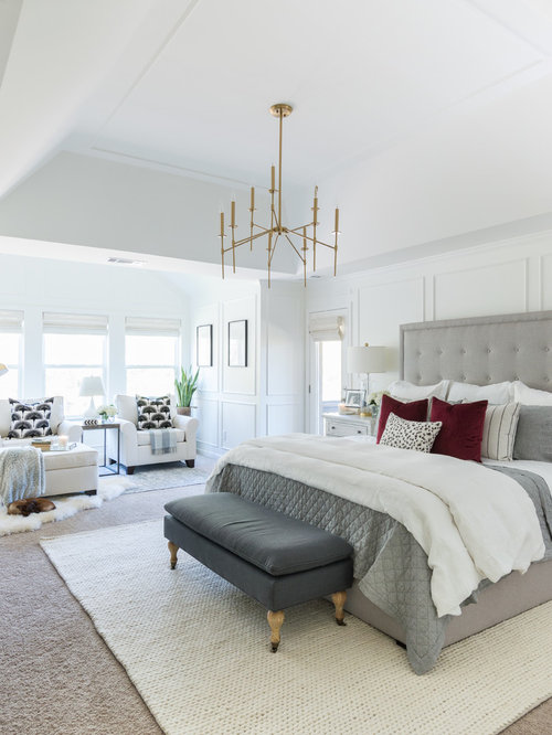Transitional Master Carpeted And Beige Floor Bedroom Photo In Seattle With  White Walls