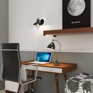 Diseño de habitación de invitados nórdica, pequeña, con paredes grises, suelo de baldosas de cerámica y suelo beige