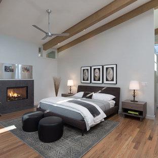 Ispirazione per una camera matrimoniale minimal di medie dimensioni con pareti grigie, pavimento in legno massello medio, camino classico e cornice del camino piastrellata