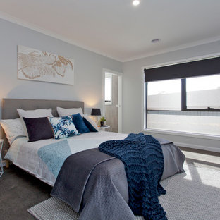 Mid-sized transitional master bedroom in Other with carpet, grey floor and blue walls.