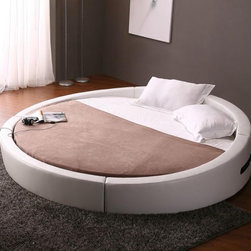 Opus - Modern Round Bed in White Leather - Features