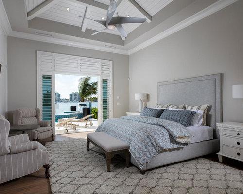 beach bedroom furniture. Coastal master medium tone wood floor bedroom photo in Miami with gray walls Best 30 Beach Style Bedroom Ideas  Decoration Pictures Houzz