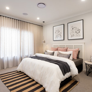 Photo of a contemporary guest bedroom in Brisbane with beige walls, carpet and brown floor.