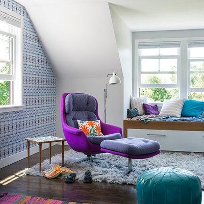 Bedroom - coastal dark wood floor bedroom idea in Boston with multicolored walls