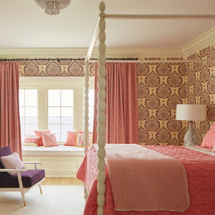 Elegant master carpeted bedroom photo in Jacksonville with multicolored walls