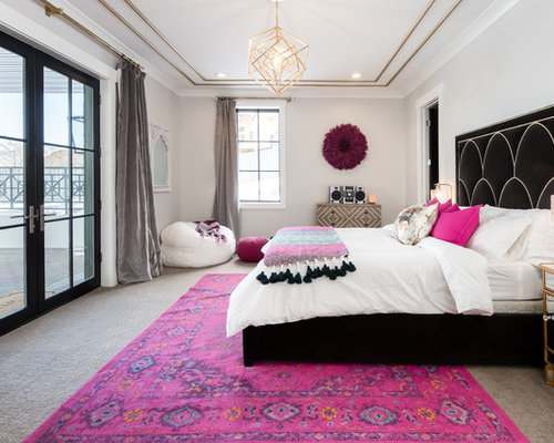 Example Of A Large Transitional Master Carpeted And Gray Floor Bedroom  Design In Salt Lake City