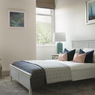 Modelo de habitación de invitados actual, de tamaño medio, con paredes blancas, moqueta y suelo gris