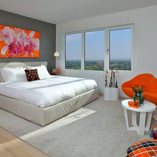 Inspiration For A Mid Sized Contemporary Master Light Wood Floor And Beige  Floor Bedroom Remodel