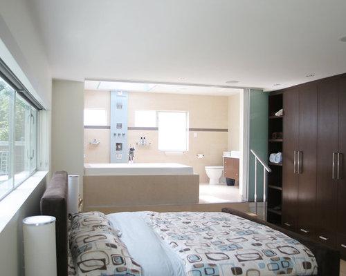 Contemporary Master Bedroom Idea In Vancouver With Beige Walls