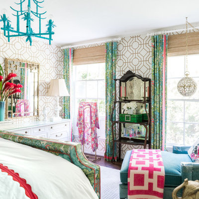 Bedroom - mid-sized eclectic master vinyl floor bedroom idea in Los Angeles with multicolored walls and no fireplace