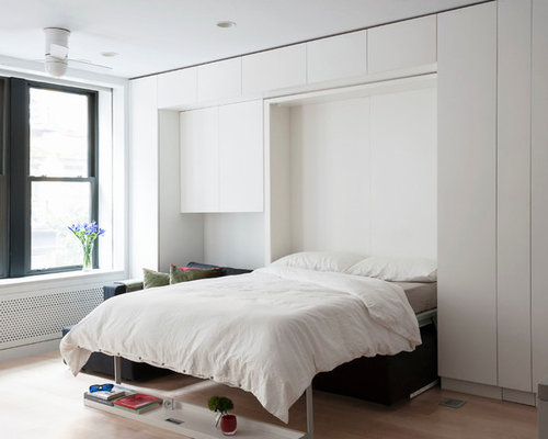 Small Minimalist Master Bedroom Photo In New York With White Walls