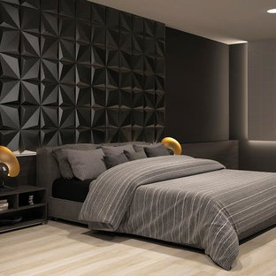 Example Of A Large Minimalist Master Porcelain Floor And Beige Bedroom Design In Miami With