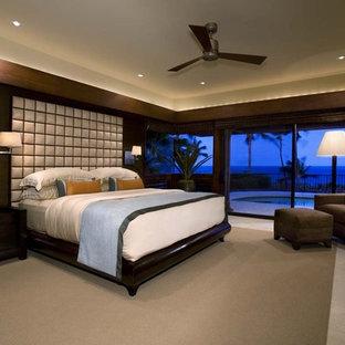Esempio di una camera da letto tropicale con pareti marroni
