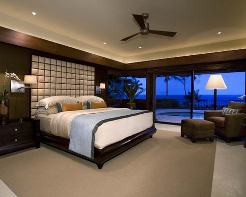 Bedroom design ideas remodels photos with brown walls for Tropical bedroom design