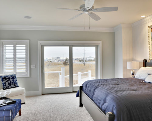 Coastal Carpeted Bedroom Photo In Other With Gray Walls