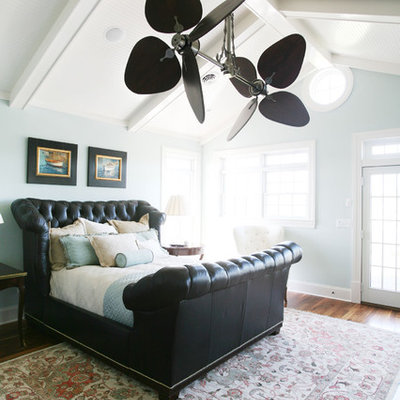 Inspiration for a timeless bedroom remodel in Other with blue walls