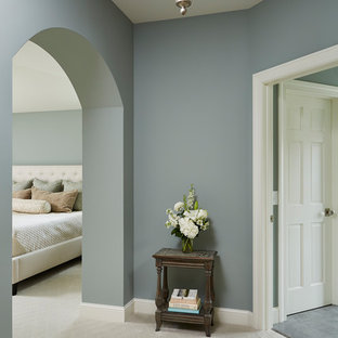 Bedroom - large traditional master carpeted and white floor bedroom idea in Minneapolis with blue walls and no fireplace