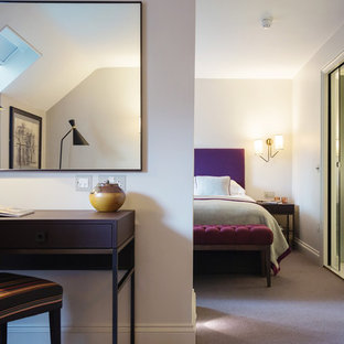 Design Ideas For A Contemporary Bedroom In Gloucestershire With White Walls,  Carpet And Grey Floors