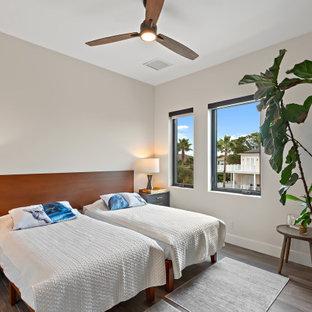 Immagine di una camera degli ospiti contemporanea di medie dimensioni con pareti beige, pavimento in vinile e pavimento grigio