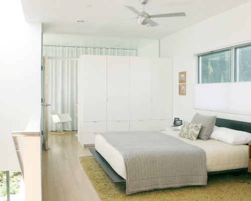 Inspiration For A Modern Loft Style Bedroom Remodel In Los Angeles With White Walls And