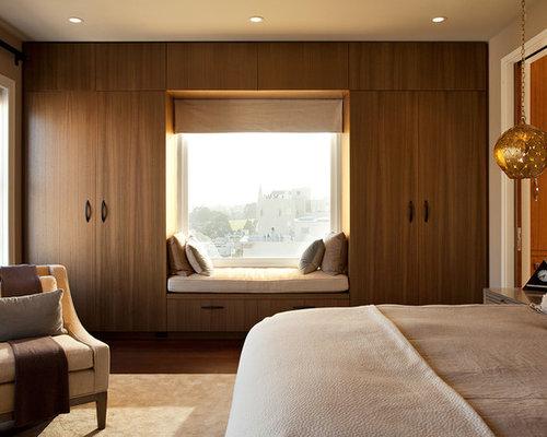 Inspiration For A Modern Dark Wood Floor Bedroom Remodel In San Francisco  With Beige Walls