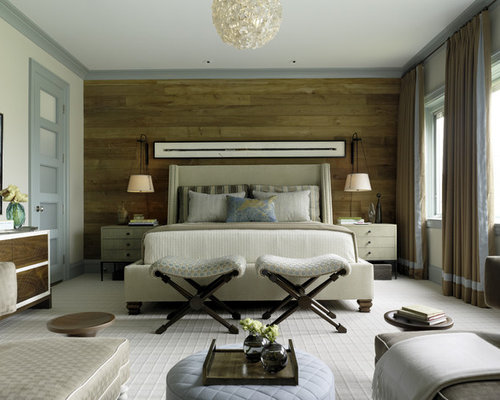 wood wall behind bed home design ideas pictures remodel and decor. Black Bedroom Furniture Sets. Home Design Ideas