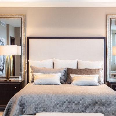 Trendy bedroom photo in San Diego with beige walls