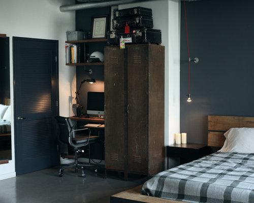 Camera da letto industriale con pareti blu - Foto e Idee per Arredare