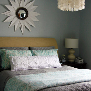 Example of a classic bedroom design in Minneapolis with gray walls