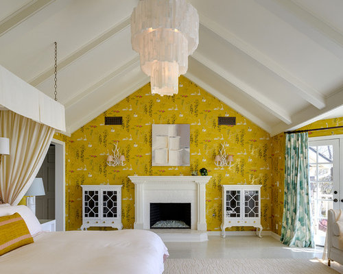 Best 100 Bedroom with a Brick Fireplace and Yellow Walls Ideas ...