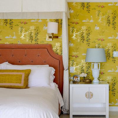 Bedroom - traditional bedroom idea in Los Angeles with yellow walls