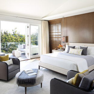 Example of a transitional master bedroom design in Los Angeles