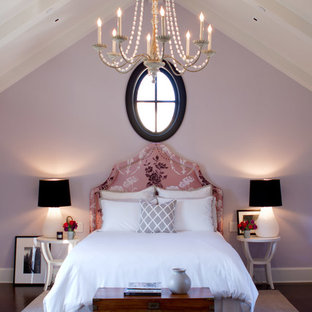 Inspiration for a traditional bedroom in Los Angeles with purple walls.