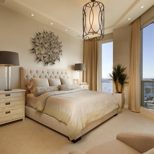 Bedroom - mid-sized transitional master carpeted bedroom idea in Miami with beige walls