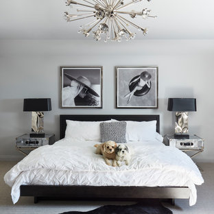 Bedroom - mid-sized contemporary master carpeted and beige floor bedroom idea in Miami with white walls and no fireplace