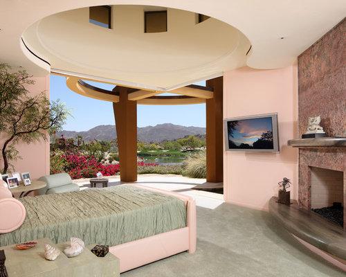 mediterrane schlafzimmer mit rosa wandfarbe ideen design bilder houzz. Black Bedroom Furniture Sets. Home Design Ideas