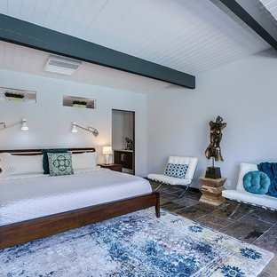 Design ideas for a mid-sized midcentury master bedroom in Other with slate floors and brown floor.