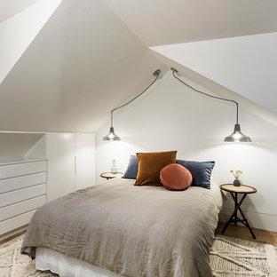 Imagen de dormitorio tipo loft, contemporáneo, de tamaño medio, con paredes blancas, suelo de madera en tonos medios, chimenea de esquina y suelo marrón
