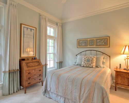 Amazing Elegant Guest Carpeted Bedroom Photo In Atlanta With Blue Walls