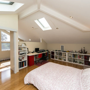 Design ideas for a mid-sized modern loft-style bedroom in Perth with bamboo floors.
