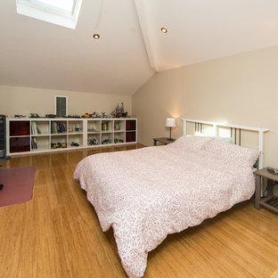 Modelo de dormitorio tipo loft, moderno, de tamaño medio, con suelo de bambú