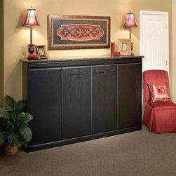 Panel Beds - Cosmopolitan Panel Bed in Black Woodgrain Finish with Sunrise Doors