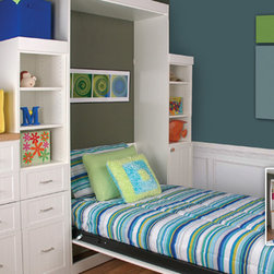 Panel twin bed open with a corner desk... Great for a child's room! -