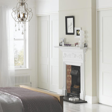Panelled White Built-in Wardrobes